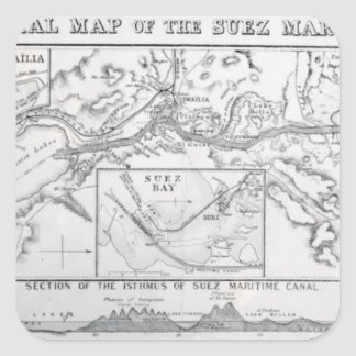 Wyld's Official Map of the Suez Maritime Canal Square Sticker