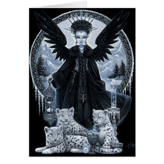 Wynter Gothic Snow Leopard Angel Winter Time Scene Greeting Card