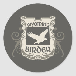 Round Sticker with Wyoming Birder design