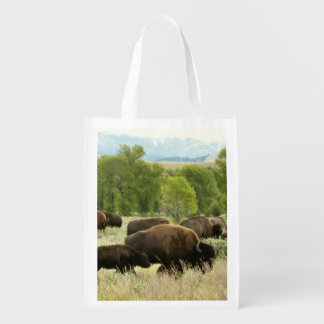 Wyoming Bison Nature Animal Photography Grocery Bags