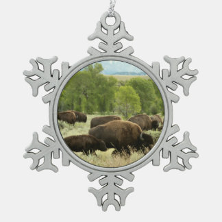 Wyoming Bison Nature Animal Photography Snowflake Pewter Christmas Ornament