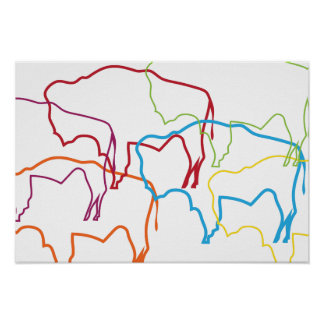 wyoming bison pride blur poster