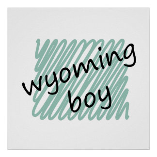 Wyoming Boy on Child's Wyoming Map Drawing Poster