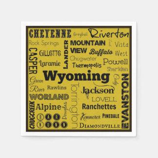 Wyoming cities typography napkins