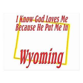 Wyoming - dios me ama tarjeta postal