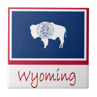 Wyoming Flag And Name Small Square Tile