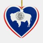 Wyoming Flag Heart Ceramic Ornament