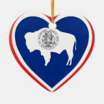 Wyoming Flag Heart Ornament