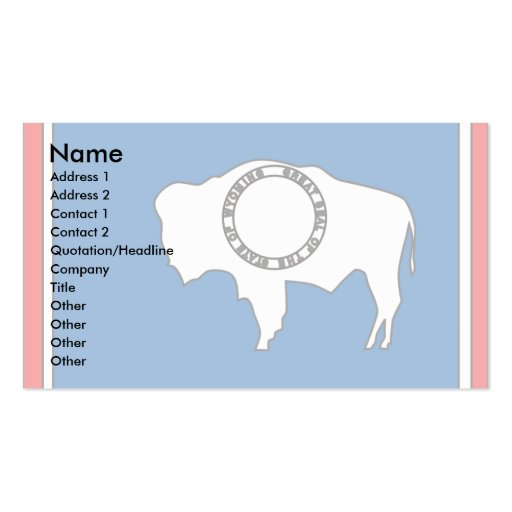Wyoming Flag Map Business Card Template