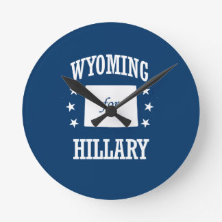 WYOMING FOR HILLARY ROUND WALL CLOCK