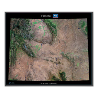 Wyoming from space satellite poster