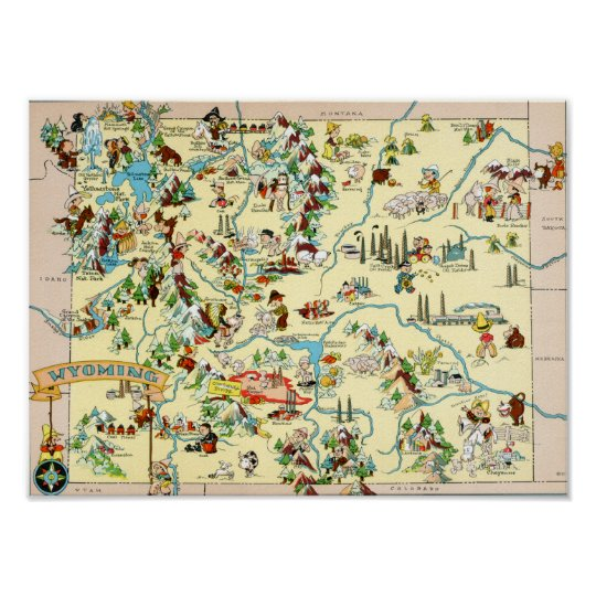 Wyoming Funny Vintage Map Poster