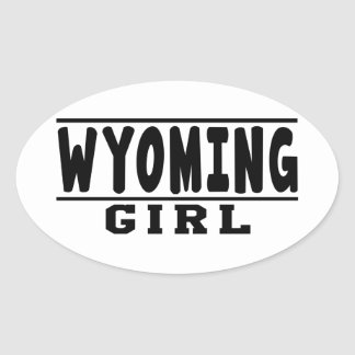 Wyoming  girl designs oval sticker