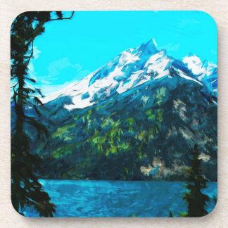 Wyoming Grand Teton Mountains Abstract Coaster