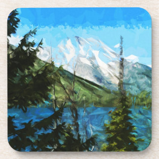 Wyoming Grand Teton Mountains Abstract Drink Coaster