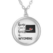 Wyoming home is where the heart is silver plated necklace