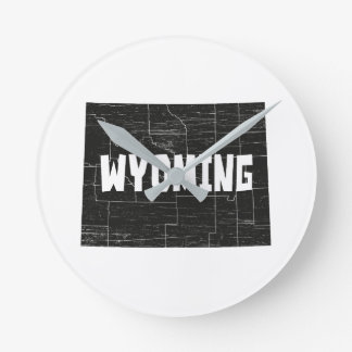 Wyoming Home Vintage Distressed Map Silhouette Round Clock
