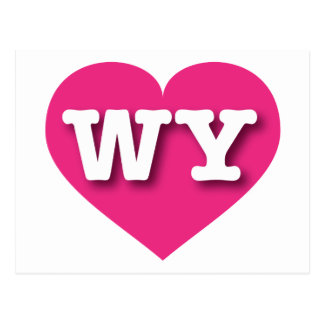 Wyoming Hot Pink Heart - blank inside Postcard