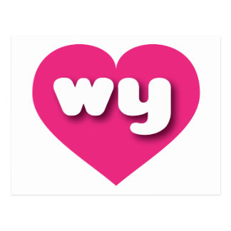 Wyoming hot pink heart - mini love postcard
