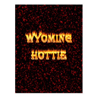Wyoming hottie fire and flames design red postcard