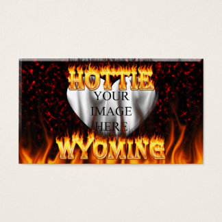 Wyoming Hottie fire and red marble heart. Business Card
