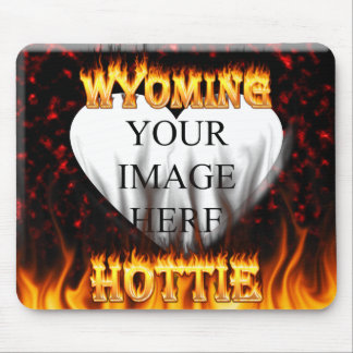 Wyoming Hottie fire and red marble heart. Mouse Pad