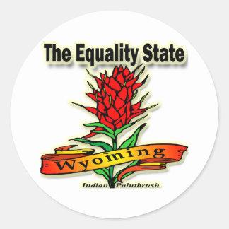 Wyoming la brocha india del estado de la igualdad pegatina redonda