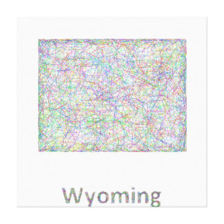 Wyoming map canvas print