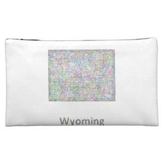 Wyoming map cosmetic bag