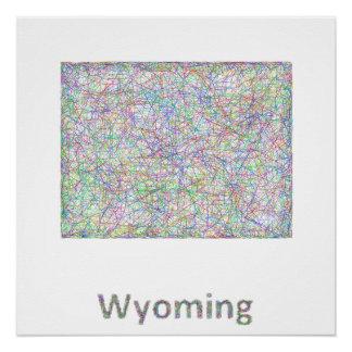 Wyoming map poster
