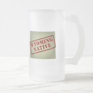 Wyoming Native Stamped on Map Frosted Glass Beer Mug
