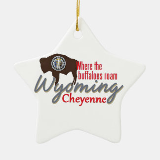 WYOMING Double-Sided STAR CERAMIC CHRISTMAS ORNAMENT