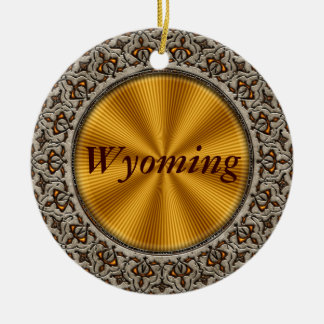 Wyoming Double-Sided Ceramic Round Christmas Ornament