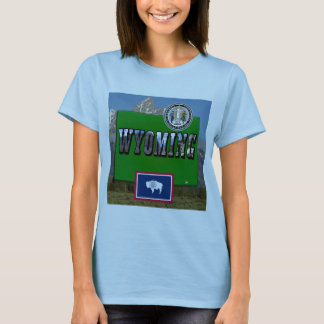 Wyoming Picture, Map, Flag and State Seal T-Shirt