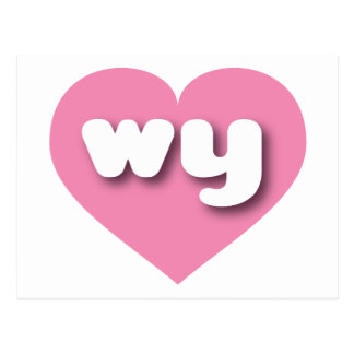 Wyoming pink heart - mini love postcard