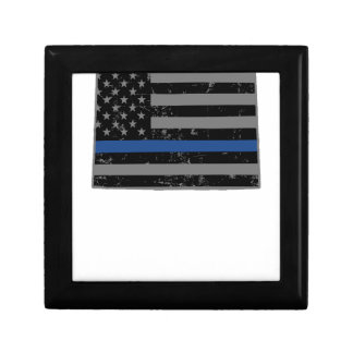 Wyoming Police & Law Enforcement Thin Blue Line Keepsake Box