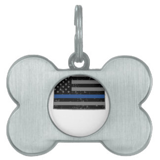Wyoming Police & Law Enforcement Thin Blue Line Pet ID Tag