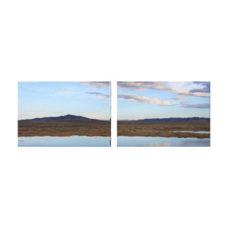 Wyoming Pond at Dawn Diptych Stretched Canvas Print
