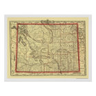 Wyoming Railroad & Town Map 1895 Poster