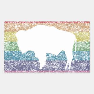wyoming rainbow rectangular sticker