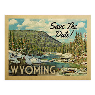 Wyoming Save The Date Mountains River Snow Postcard