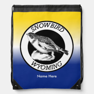 Wyoming Snowbird Shield Drawstring Bag