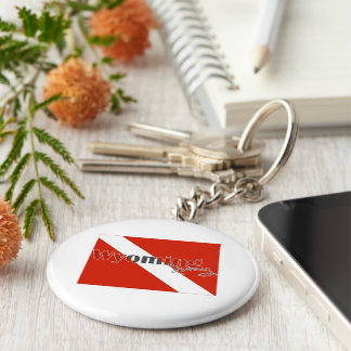 Wyoming State Diving Flag Basic Round Button Keychain