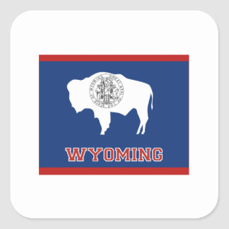 Wyoming State Flag and Map Square Sticker