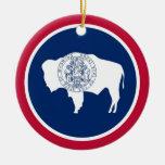 Wyoming State Flag Ceramic Ornament