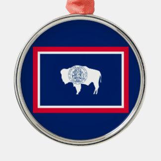 Wyoming State Flag Design Decor Metal Ornament