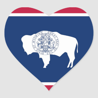 Wyoming State Flag Heart Sticker