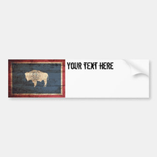 Wyoming State Flag on Old Wood Grain Bumper Sticker