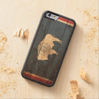 Wyoming State Flag on Old Wood Grain Carved Maple iPhone 6 Bumper Case