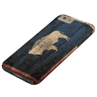 Wyoming State Flag on Old Wood Grain Tough iPhone 6 Plus Case